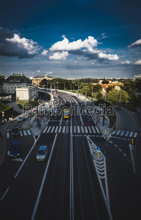 high angle view of vehicles on