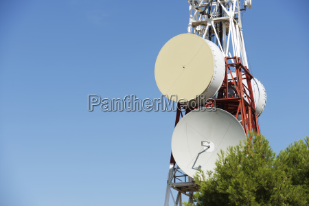 low angle view of communication tower