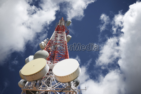 low angle view of telecommunication tower
