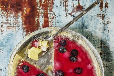 overhead view of gelatin blueberry tart