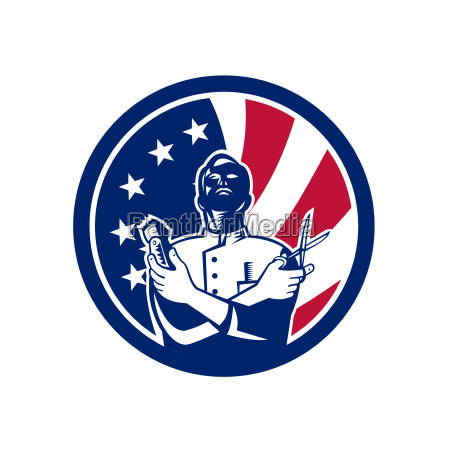 american barber usa flag icon