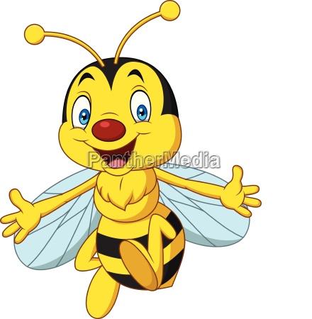 cartoon happy bee isolated on white