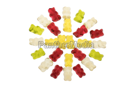 circle of jelly bears isolated on