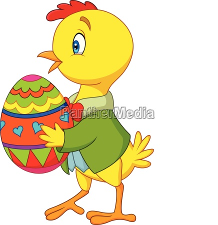 cartoon chick holding a decorated easter