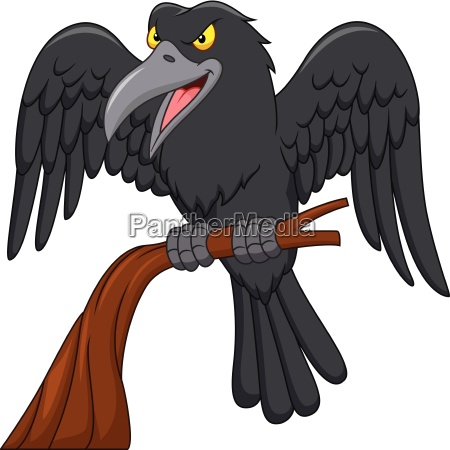 cartoon raven on a tree branch