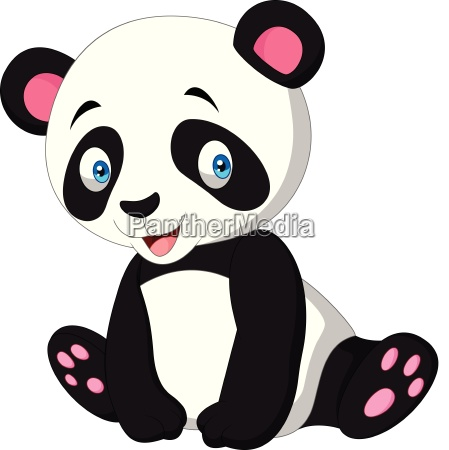 cartoon cute panda isolated on white