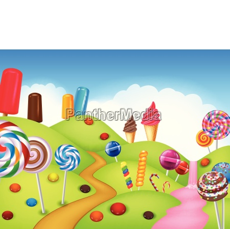 beautiful candyland with cupcake ice cream