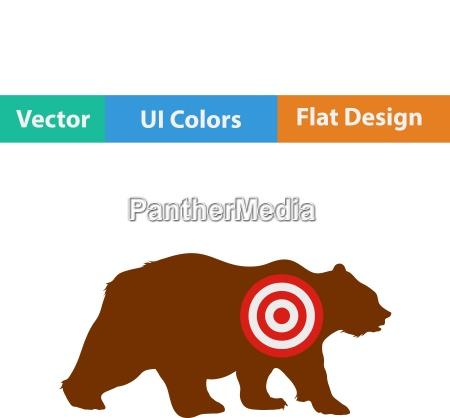 flat design icon of bear silhouette
