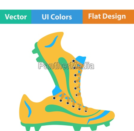 flat design icon of football boots