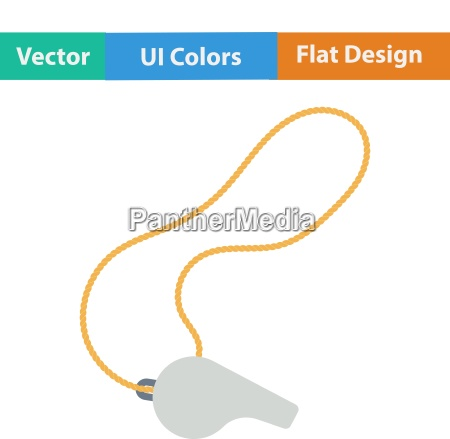 flat design icon of whistle on