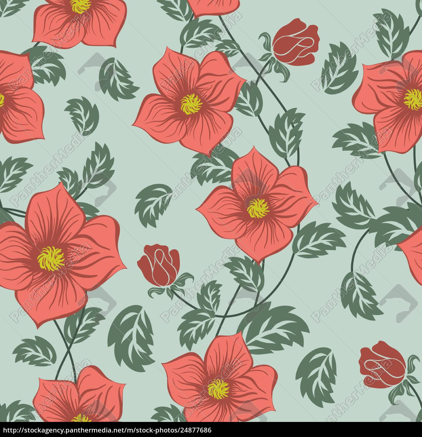 seamless, floral, ornate, , pattern - 24877686