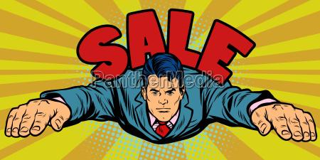 serious businessman flies sales