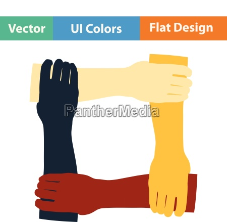 flat design icon of crossed hands