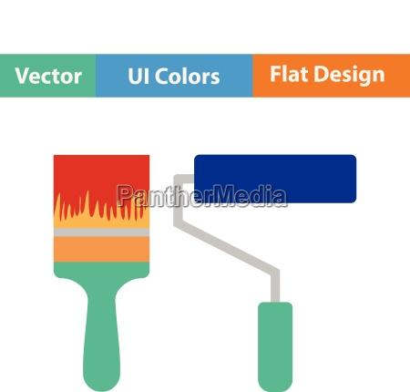 flat design icon of construction paint