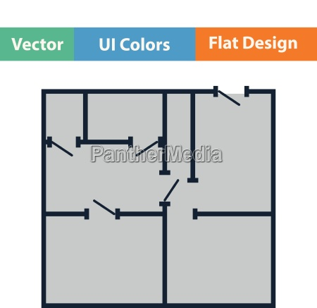 flat design icon of apartment plan