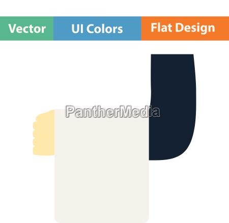 flat design icon of waiter hand