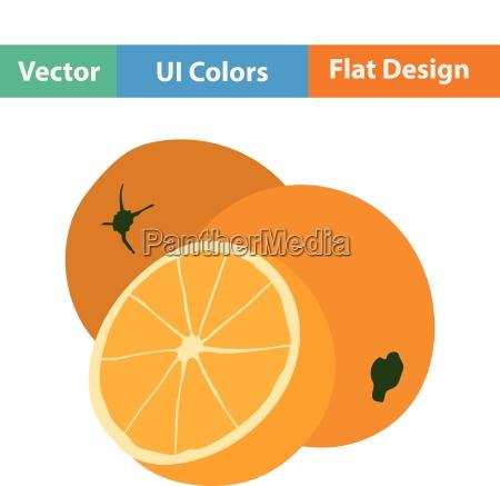 flat design icon of orange