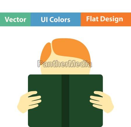 flat design icon of boy reading