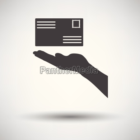 hand holding letter icon