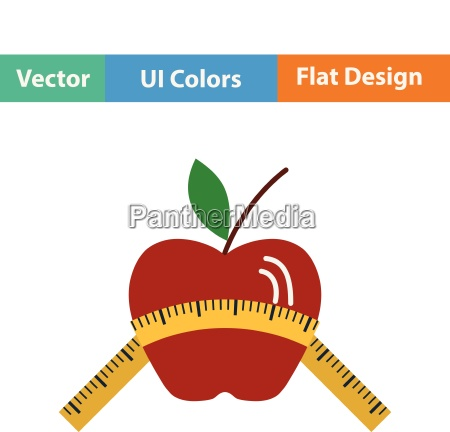 flat design icon of apple with