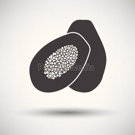 papaya icon on gray background