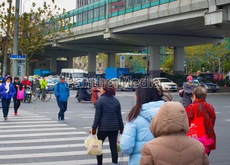people on zebra shanghai china