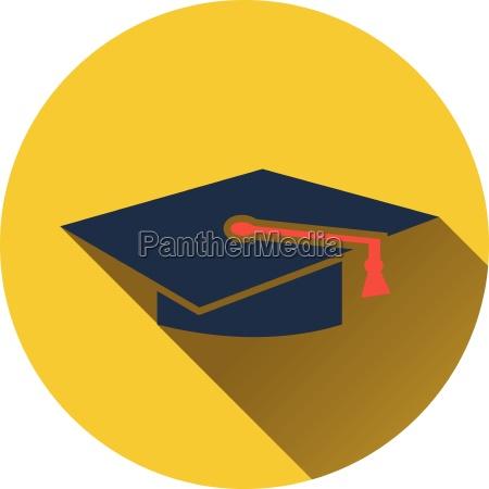 flat design icon of graduation cap