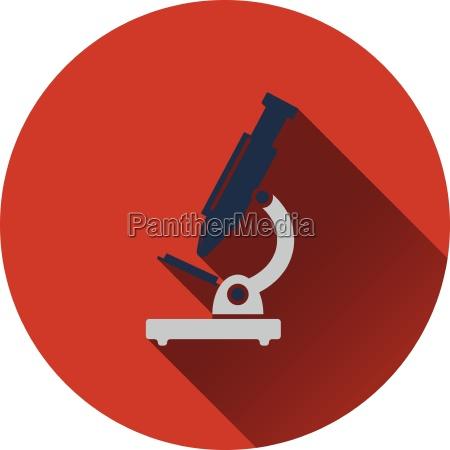 flat design icon of school microscope