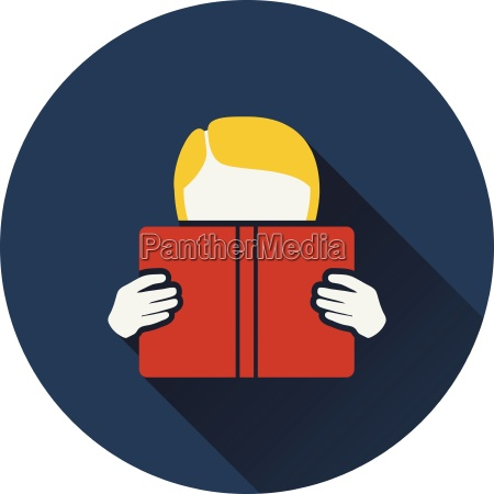 flat design icon of boy reading