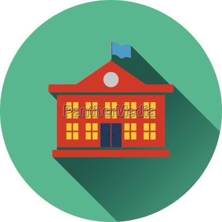 flat design icon of school building