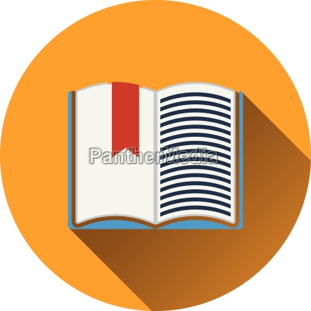 flat design icon of open book