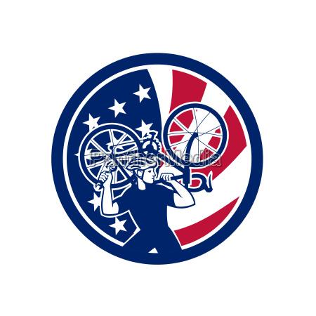 american bike mechanic usa flag mascot