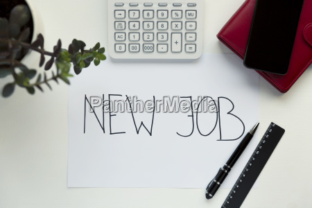 new job concept with workplace on