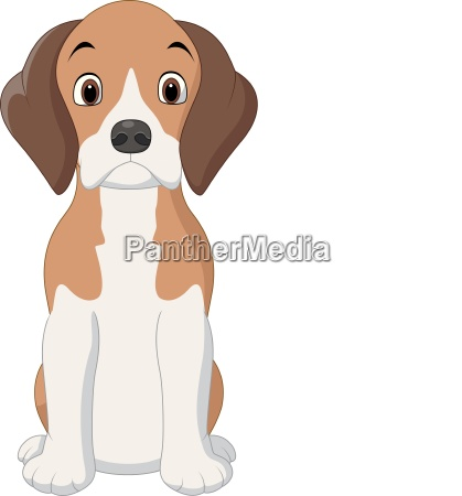 cartoon happy beagle dog sitting