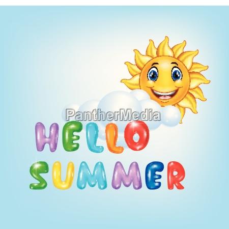 summer background with happy sun cartoon
