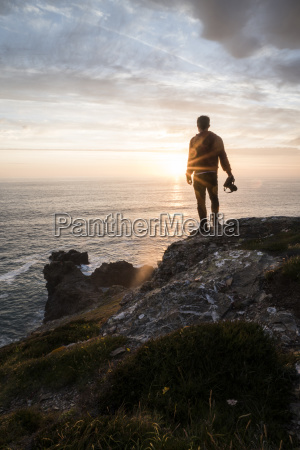 rear view of silhouette man with