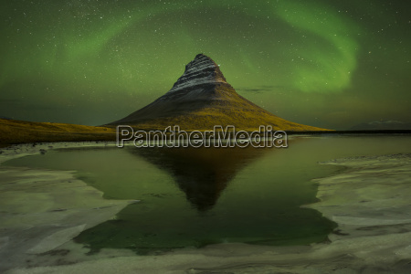 scenic view of northern lights over