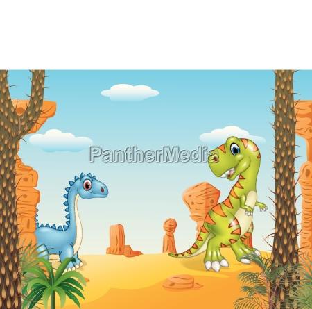cartoon funny dinosaur collection with prehistoric