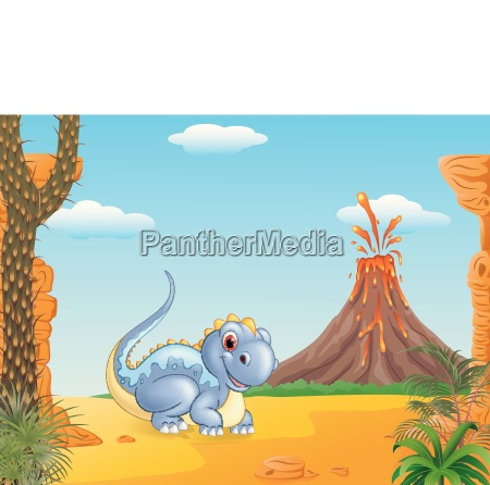 adorable dinosaur sitting with the prehistoric