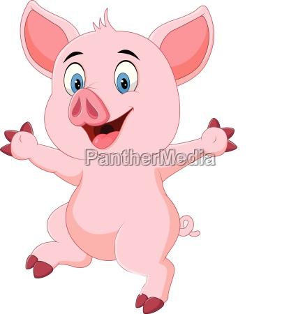 cartoon funny pig waving hand isolated