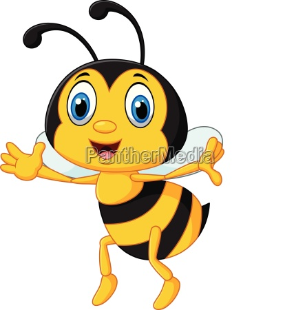 funny bee flying isolated on white