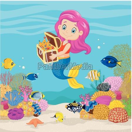 cute mermaid holding treasure chest