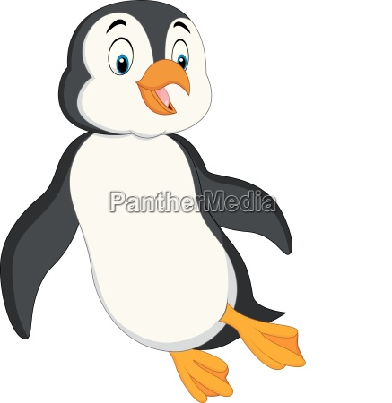 cartoon penguin swimming