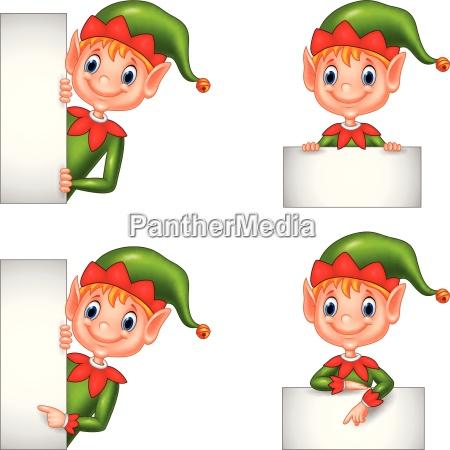 set of cartoon elf with blank