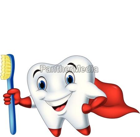 cartoon superhero tooth with toothbrush