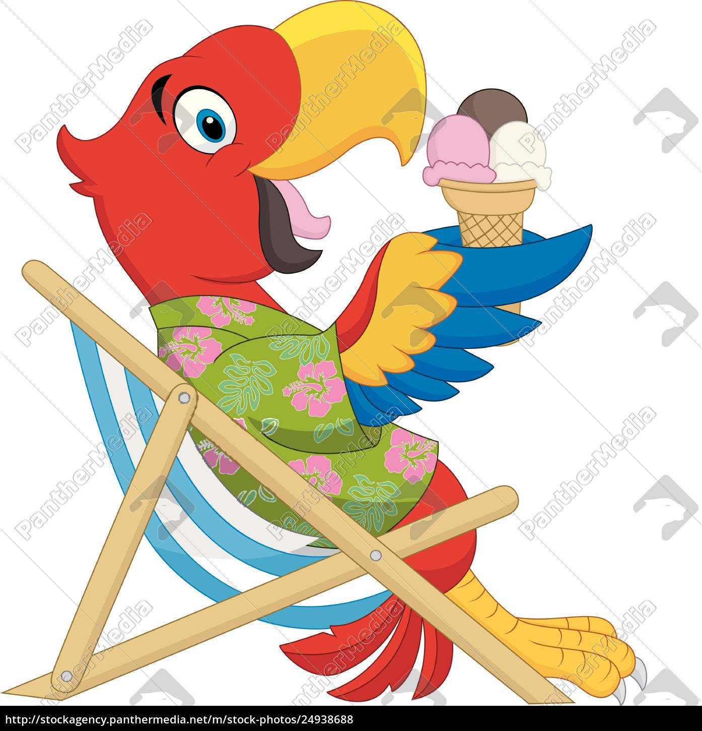 Cartoon Macaw Sitting On Beach Chair And Eating An Ice Royalty Free Photo 24938688 Panthermedia Stock Agency
