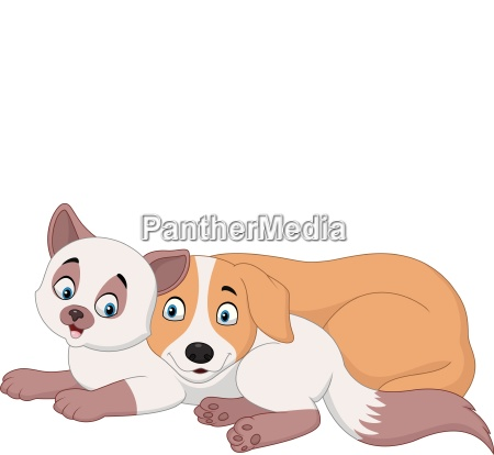 cartoon cat and dog relaxing