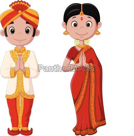 cartoon indisches paar traegt traditionelle kostueme