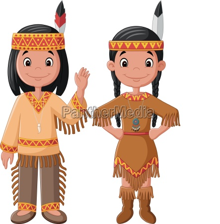 cartoon couple native indian american with