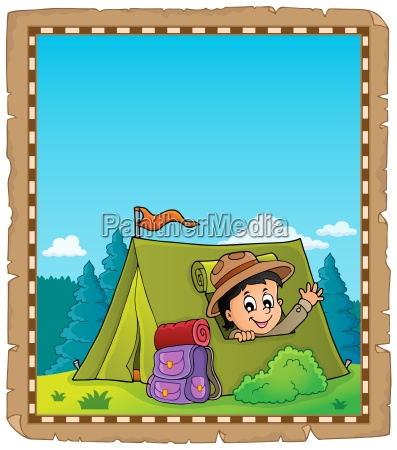 parchment with scout in tent theme